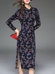 Dark Blue Cotton-blend Floral-print Vintage Sheath Midi Dress