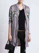 Gray Stand Collar Casual Embroidered Coat