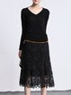 Black Casual Pierced Lace Midi Skirt