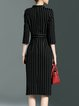 Black Printed Simple Stripes A-line Midi Dress