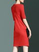 Red Crew Neck Simple Color-block Cotton-blend Mini Dress