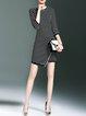 Casual 3/4 Sleeve H-line Nylon Stripes Mini Dress