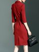 Sheath Slit Simple 3/4 Sleeve Midi Dress