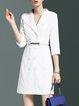 Plain 3/4 Sleeve Simple Polyester Double Breasted Mini Dress with Belt