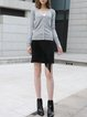 Gray Simple Knitted Plain Buttoned Cardigan