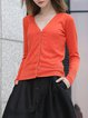 Orange Acrylic Knitted Long Sleeve Cardigan