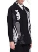 Black Statement V Neck Embroidered Abstract Coat