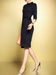 Black Stripes 3/4 Sleeve Slit Stand Collar Elegant Midi Dress