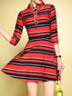 Red Work Stripes Color-block Midi Dress