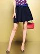Blue Sweet Plain Knitted A-line Mini Skirt