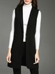 Black Sleeveless Lapel Vests With Belt