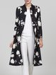 Floral-print Long Sleeve Casual Coat