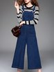 Blue Denim Pockets Spaghetti Shift Jumpsuit