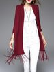 Wine Red Knitted Plain Cotton-blend Casual Cape