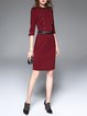 Wine Red Half Sleeve Knitted Plain Stand Collar Midi Dress with Belt