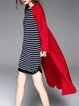 Red Long Sleeve Pockets Plain Cardigan