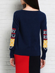 Navy Blue Casual Geometric Wool Knitted Sweater