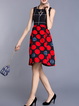 Red Crew Neck Polyester Sleeveless Midi Dress