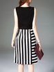 Black Crew Neck Sleeveless Stripes Zipper Midi Dress
