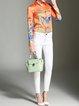 Orange Animal Print Shirt Collar Work Blouse