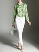 Green Letter Printed Shirt Collar Long Sleeve Blouse