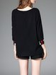 Black Embroidered Geometric Long Sleeve Top