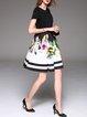 Black Floral Printed A-line Short Sleeve Mini Dress