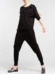 Black Plain Casual Pockets Track Pants