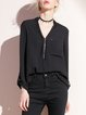 Black Polyester Zipper Casual Blouse
