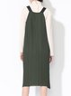 Green Polyester Spaghetti H-line Plain Stretchy Midi Dress