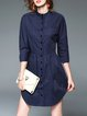 Casual A-line 3/4 Sleeve Cotton Plain Shirt Dress