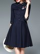 Dark Blue Cotton Shirt Collar Casual Appliqued Shirt Dress