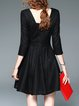 Black 3/4 Sleeve Square Neck Mini Dress