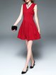 Red Polyester Folds V Neck Sleeveless  Plain Mini Dress