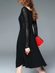 A-line Elegant Long Sleeve Square Neck Midi Dress