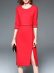 Red 3/4 Sleeve Cotton-blend Slit Midi Dress