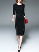 Black 3/4 Sleeve Sheath Slit Cotton-blend Midi Dress