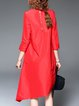 Asymmetric 3/4 Sleeve Simple Midi Dress