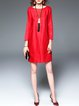 Red Linen Crew Neck Long Sleeve Mini Dress