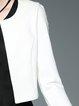 White Cotton-blend Simple Crew Neck Plain Blazer