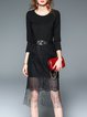 Black Crew Neck Cotton-blend Cocktail Fringed Midi Dress with Belt