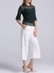 Green Polyester Simple Knitted Crew Neck Two Piece Blouse