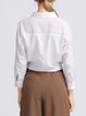 White Long Sleeve Bow Shirt Collar Cotton-blend Plain Blouse