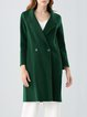 Dark Green H-line Casual Lapel Plain Coat