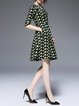 Multicolor Casual A-line Geometric Printed V Neck Midi Dress with Belt