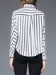 White Printed Casual H-line Stripes Blouse