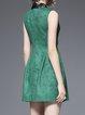 Green Paneled Plain Casual Crew Neck Mini Dress