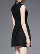 Black Sleeveless A-line Crew Neck Paneled Mini Dress