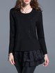 Black Shift Ruched Long Sleeved Top