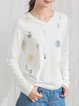 White Cotton Printed Long Sleeved Top